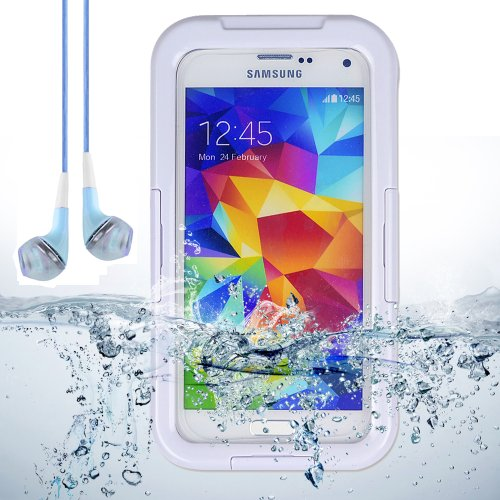 White Waterproof Case Diving Dry Box Water Resistant Case For Samsung Galaxy S5 + Blue Vangoddy Headphones With Mic