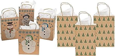 12 Paper Kraft Christmas Gift Bags - 6- Medium Snowman and 6- Christmas Tree