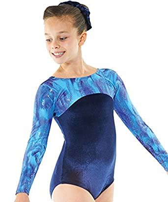 Gymnastics Leotard Long Sleeved Gym Wear Navy Blue Velvet ...