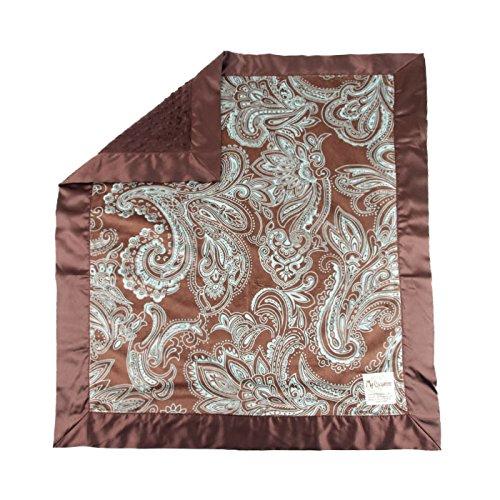 "My Blankee Aby Minky w/ Minky Dot Chocolate Brown Baby Blanket, 30"" x 35"""