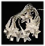5 ft Battery Operated Clear Star LED Timer Light String Garland Christmas Decor