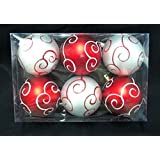 Queens Of Christmas WL-ORN-6PK-SWL-RW 6 Pack Ball Ornament With Swirl Design, Red/White