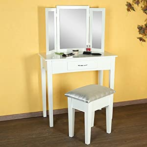 schminktisch hocker spiegel frisierkommode frisiertisch kosmetiktisch weiss k che. Black Bedroom Furniture Sets. Home Design Ideas