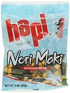 Hapi Seaweed Wrap Rice Crackers, 2-Ounce Bags (Pack of 12) by HAPI