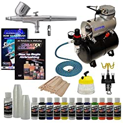 MASTER G22 Multi-purpose Airbrush Kit With Airbrush Depot 1 Year Warranty Tank Compressor and 6 Foot Air Hose Set, Createx Paint, Instructional DVD, Airbrush Holder, Cleaning Pot, Quick-Connector, Mixing Sticks & Cups