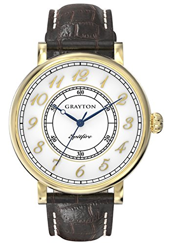 Grayton Spitfire Men's Quartz Watch with White Dial Analogue Display and Brown Leather Strap GR-0014-001.5