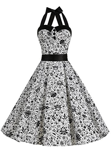 Dressystar Vintage Polka Dot Retro Cocktail Prom Dresses 50's 60's Rockabilly Bandage Skull XS