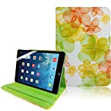 Green Yellow Apple iPad Mini (Retina Display) PU Synthetic Leather Floral Printed Smart Flip Adjustable Stand 360 Rotating Function Case Cover Includes Free Screen Protector - Part of JJOnline Store Mobile Phone Accessories
