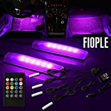 FIOPLE Beat Recognition 7 Colors Multiple Flashing Modes with Wireless Remote Control Interior Universal 12V Lighting Kit 4 Pcs