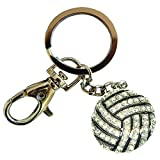 Sports Novelties Volleyball Shaped Bling Keychain, White/Black