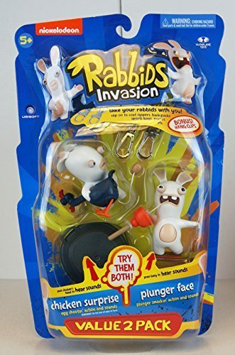 Raving Rabbids Invasion Series 2 Action Figure with Sound 2-Pack Chicken Suprise & Plunger Face by Rabbids