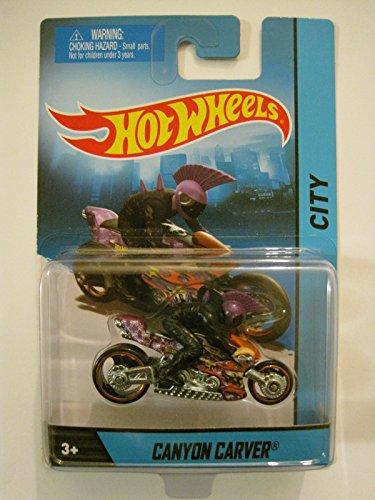 2014 Hot Wheels Hw City Canyon Carver Motorcycle with Purple & Black Mohawk Rider, Die-cast Collectible, Collectible Motorcycle