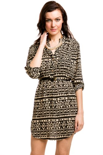 Belted Tribal Print Tunic Dress In Black