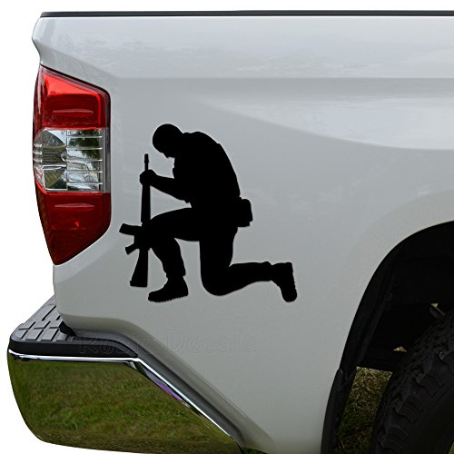 Kneeling Soldier Praying Die Cut Vinyl Decal Sticker For Car Truck Motorcycle Window Bumper Wall Decor Size- [12 inch/30 cm] Tall / Color- Gloss Black (Window Decal Praying Soldier compare prices)