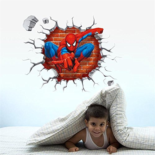 UltaPlay(TM)3d spiderman through the wall stickers home decoration zooyoo1454 adesivo de paredes kids room decal movie cartoon mural art 4.0