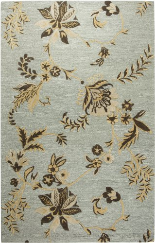 Rizzy Rugs DI-1732 3-Foot-by-5-Foot Dimension Area Rug, Floral Light Blue