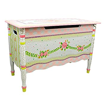 Crackled Rose Thematic Kids Wooden Toy Chest with Safety Hinges | Imagination Inspiring Hand Crafted
