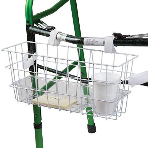 HealthSmart Walker Basket, Universal Basket For Walker With Tray and Cup Holder, Rollator Walker Basket, White (Walker Basket With Insert compare prices)