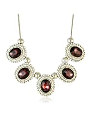 Faux Stone Bib Necklace Maroon Color Necklace By Sarah | Fashion Jewellery - B00TYAMG8G