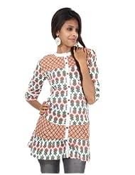 Rajrang Cotton Red, White Screen Printed Tunic Top