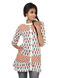 Rajrang Cotton Red, White Screen Printed Tunic Top, Size: S