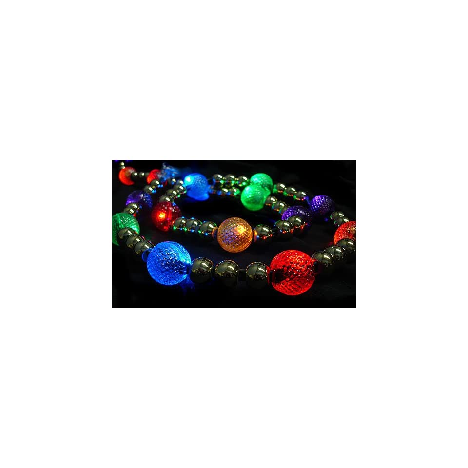 gki 6 lighted led multi color beaded garland 20