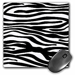 3dRose LLC 8 x 8 x 0.25 Inches Mouse Pad, Black/White Zebra Stripe (mp_56676_1)
