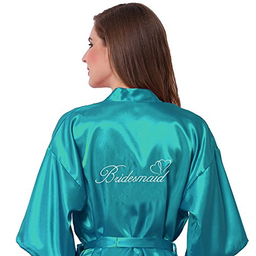 Joytton Women's Satin Kinono Robe with Embroidered Bridesmaid Short Lake Blue M