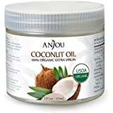 Anjou Organic Coconut Oil (USDA Organic Certification, Extra Virgin, Cold-Pressed for Beauty, Skin Care, Hair Care, and Cooking)