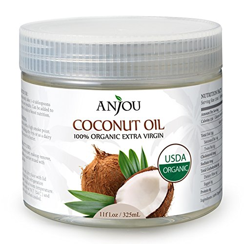 Coconut Oil Extra Virgin Certified USDA Organic Cold-pressed for Cooking, Salad Dressing, Skin Care, Hair Care, Massage Oil, Carrier Oil, Makeup Remover - Anjou