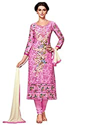 Kanchnar Women's Pink Glace Cotton Embroidered Party Wear Dress Material for Traditional Wedding Wear,Navratri Special Dress,Great Indian Sale,Diwali Gift to Wife,Mom,Sister,Friend