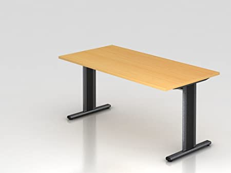 Scrivania Piede a T, 160x 80cm, Faggio/Argento
