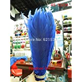 Maslin 30Pcs/lot,45-50cm Long Silver Pheasant Feathers,Silver Tails Dyed Royal Blue/Navy Blue Colour,Long Feathers
