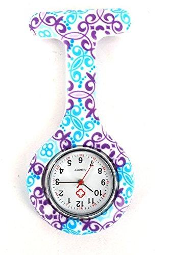 Meily - Orologio da taschino al quarzo per infermieri, rotondo, con supporto in silicone