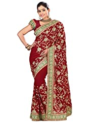 Designer Authentic Maroon Colored Embroidered Faux Georgette Saree By Triveni