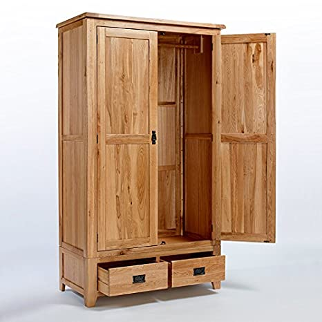 Rustic Oak Gents Double Wardrobe - Furniture