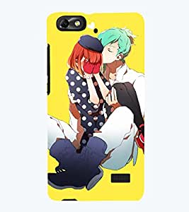 Printvisa Premium Back Cover Love Couple With Yellow Background Design For Huawei Honor 4C::Huawei G Play Mini