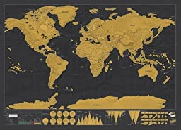 Megashopping(TM)Scratch Off World Map Deluxe Edition Poster Personalized Travel Vacation