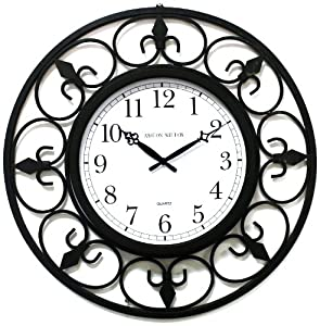 Amazon.com - Ashton Sutton WIMT13-2 Large Wrought Iron Wall Clock