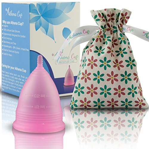 Athena Leak Free Menstrual Cup with Bag, Size 1, Transparent Pink