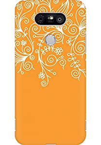 AMEZ designer printed 3d premium high quality back case cover for LG G5 (orange white design pattern abstract)