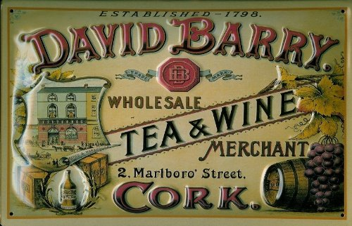 targa-in-stile-scudo-david-barry-tea-and-wine-cartello-pubblicitario-scudo