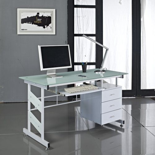 White Glass Computer Desk - Next Working Day Delivery