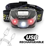 Foxelli USB Rechargeable Headlamp Flashlight - Provides up to 30 Hours of Constant Light on a Single Charge, Super Bright White Led + Red Light, Compact, Easy to Use, Lightweight & Comfortable