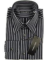 "DOLCE & GABBANA D&G ""Dandy"" mens business shirt stripes (navy blue/white)"