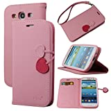 Case for Galaxy S3, By Ailun,Wallet Case,PU Leather Case,Cut,Credit Card Holder,Flip Cover Skin,(Pink)