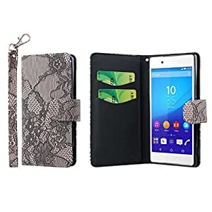 Xperia Z4 Wallet Case, MPERO FLEX FLIP Series Premium PU Leather Wallet [3 Pockets] Inner Flexible TPU Slim Fit Case for Sony Xperia Z4 with Magnetic Flap & Hand Strap [Perfect Fit & Precise Port Cut Outs] - Black Lace with Black Interior