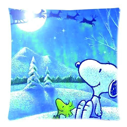 """Generic Custom Zippered Pillowcase Cushion Case Cute Cartoon Snoopy Round Moon Blue Sky Printed 18""""*18""""(Twin Sides) front-1082676"""