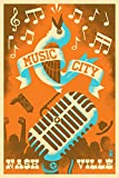 Nashville, Tennessee - Music City (9x12 Collectible Art Print, Wall Decor Travel Poster)