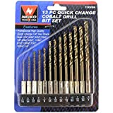 Neiko® 12008A Cobalt Coated 1/4-inch Hex Shank Drill Bits with Quick Change Design | 13-Piece Set